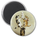 Cute Vintage Victorian Cats Kittens Playing, 6 Cm Round Magnet