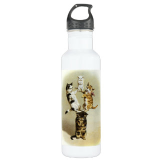 Cute Vintage Victorian Cats Kittens Playing, Humor 710 Ml Water Bottle