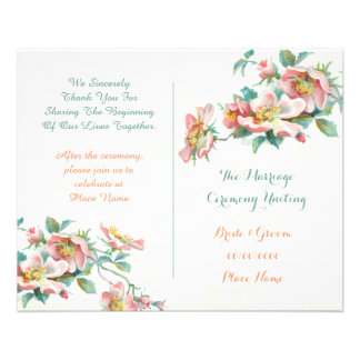 cute vintage wedding program 11.5 cm x 14 cm flyer