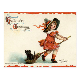 Cute Vintage Witch on Broom Halloween Postcard