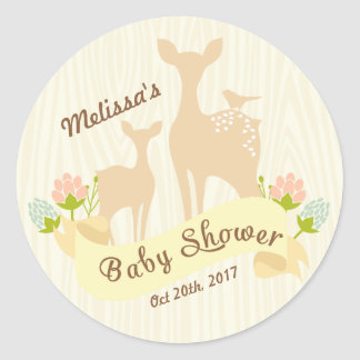 Cute Vintage Woodland Personalized Baby Shower Classic Round Sticker