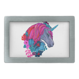 Cute Violet Magic Unicorn Fantasy Illustration Belt Buckle