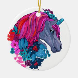 Cute Violet Magic Unicorn Fantasy Illustration Christmas Ornament