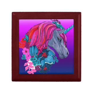 Cute Violet Magic Unicorn Fantasy Illustration Gift Box
