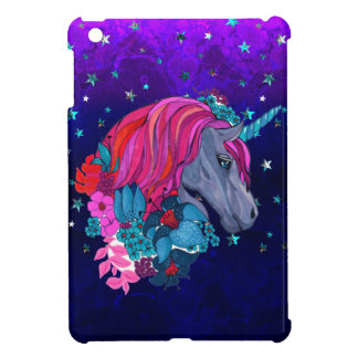 Cute Violet Magic Unicorn Fantasy Illustration iPad Mini Cover