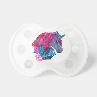 Cute Violet Magic Unicorn Fantasy Illustration Pacifier