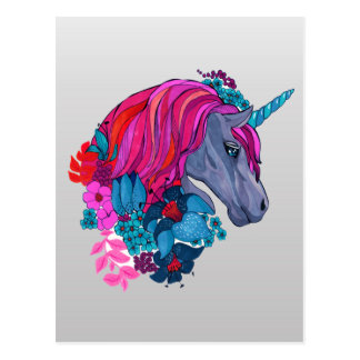 Cute Violet Magic Unicorn Fantasy Illustration Postcard