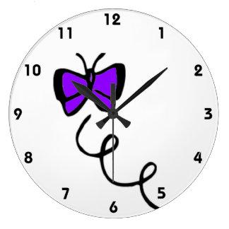 Cute Violet Purple Butterfly Large Clock