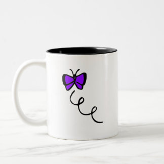 Cute Violet Purple Butterfly Two-Tone Coffee Mug