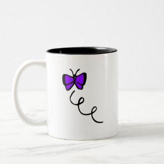 Cute Violet Purple Butterfly Two-Tone Coffee Mug