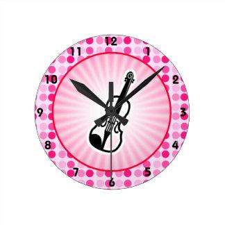 Cute Violin Round Clock