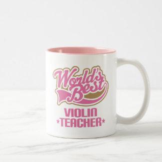 Cute Violin Teacher Two-Tone Coffee Mug