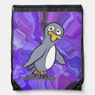 Cute waddling penguin drawstring bag