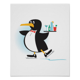 cute waiter penguin on skates poster