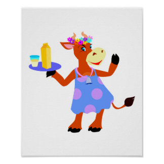 Cute Waitress Cow Poster