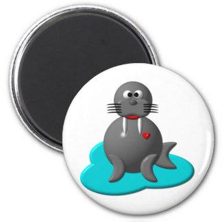 Cute walrus in water magnet
