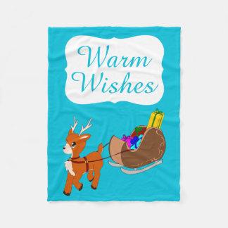 Cute Warm Wishes Reindeer Christmas Fleece Blanket
