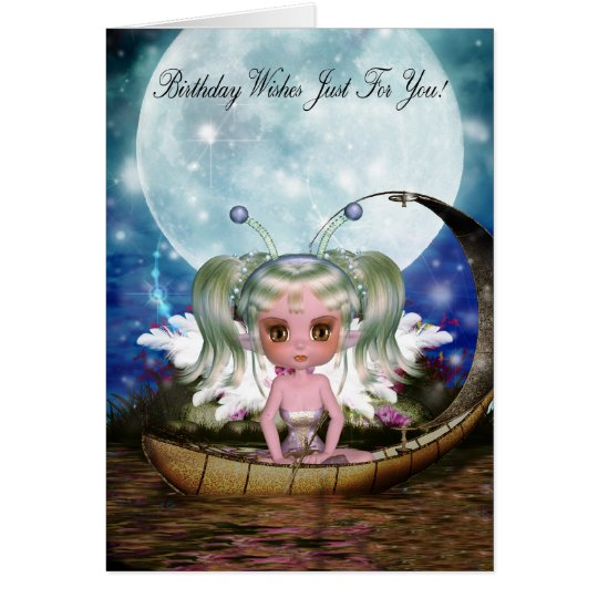 cute water fairy in her little boat with moon card