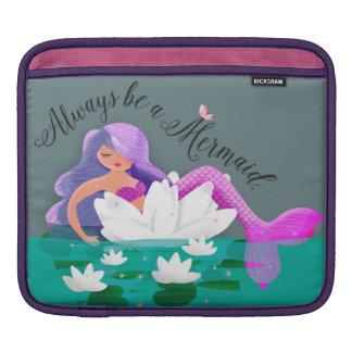 Cute Water Lily Mermaid iPad Sleeve