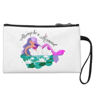 Cute Water Lily Mermaid Mini Clutch Wristlet Clutches