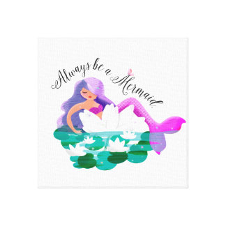 Cute Water Lily Mermaid Wrapped Canvas