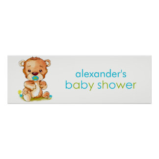 Cute Watercolor Baby Bear Boy Baby Shower Banner Poster