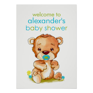Cute Watercolor Baby Bear Boy Baby Shower Poster