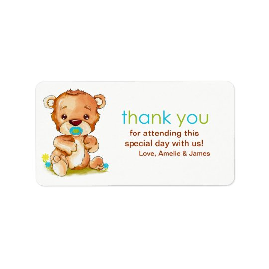 Cute Watercolor Baby Bear Boy Thank You Label
