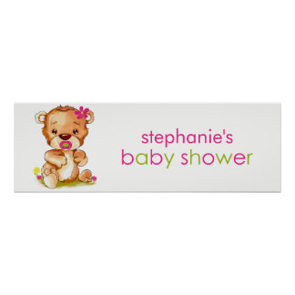 Cute Watercolor Baby Bear Girl Baby Shower Banner Poster