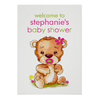Cute Watercolor Baby Bear Girl Baby Shower Poster