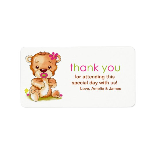 Cute Watercolor Baby Bear Girl Thank You Address Label