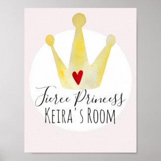 Cute Watercolor Baby Girl Princess & Name Nursery Poster