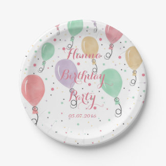 Cute watercolor balloons illustration. paper plate