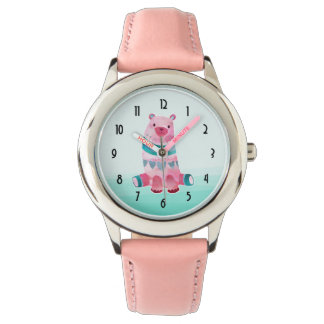 Cute Watercolor Bear on Aqua Green Ombre Backing Watches