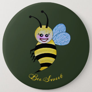 Cute Watercolor Bee With Happy Smile 6 Cm Round Badge