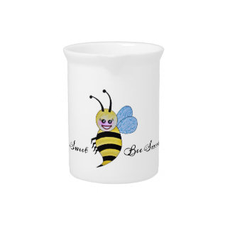 Cute Watercolor Bee With Happy Smile Pitcher