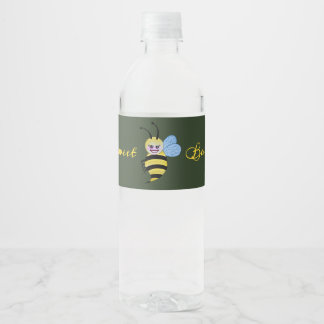 Cute Watercolor Bee With Happy Smile Water Bottle Label