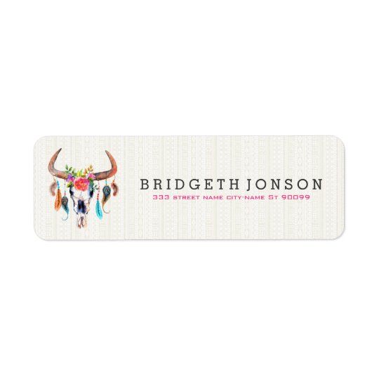 Cute Watercolor Bison Skull Return Address Label