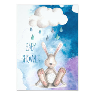 Cute Watercolor Bunny Boy Baby Shower Card