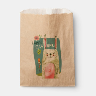 Cute watercolor bunny holding carrot Happy Easter Favour Bags