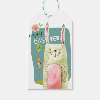 Cute watercolor bunny holding carrot Happy Easter Gift Tags