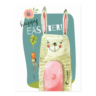 Cute watercolor bunny holding carrot Happy Easter Postcard
