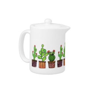 Cute Watercolor Cactus In Pots