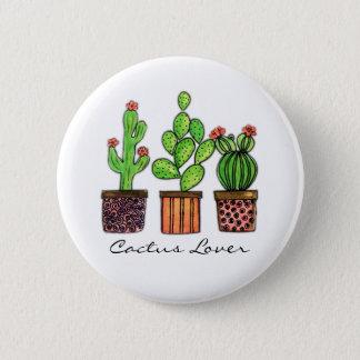 Cute Watercolor Cactus In Pots 6 Cm Round Badge