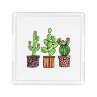 Cute Watercolor Cactus In Pots Acrylic Tray