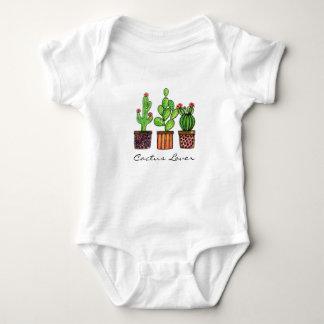 Cute Watercolor Cactus In Pots Baby Bodysuit
