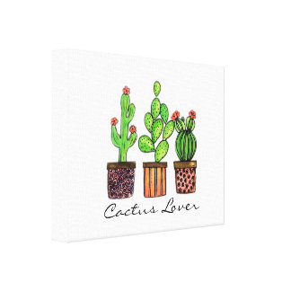 Cute Watercolor Cactus In Pots Canvas Print