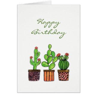 Cute Watercolor Cactus in pots Card