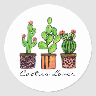 Cute Watercolor Cactus In Pots Classic Round Sticker