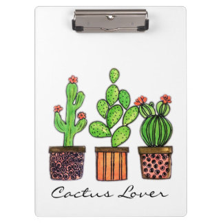 Cute Watercolor Cactus In Pots Clipboard